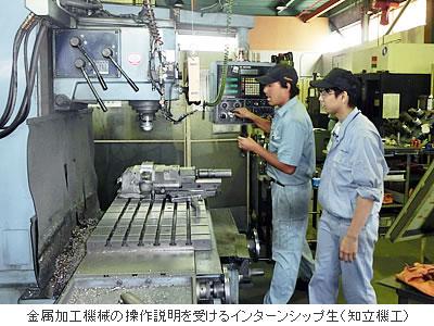 金属加工機械の操作説明を受けるインターンシップ生(知立機工)